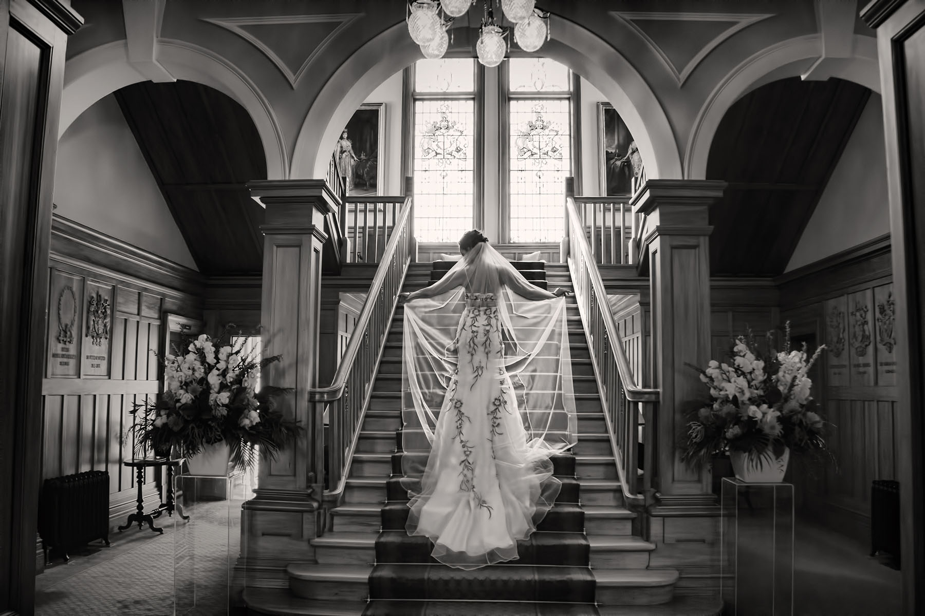 Bride on the stairs at government house.