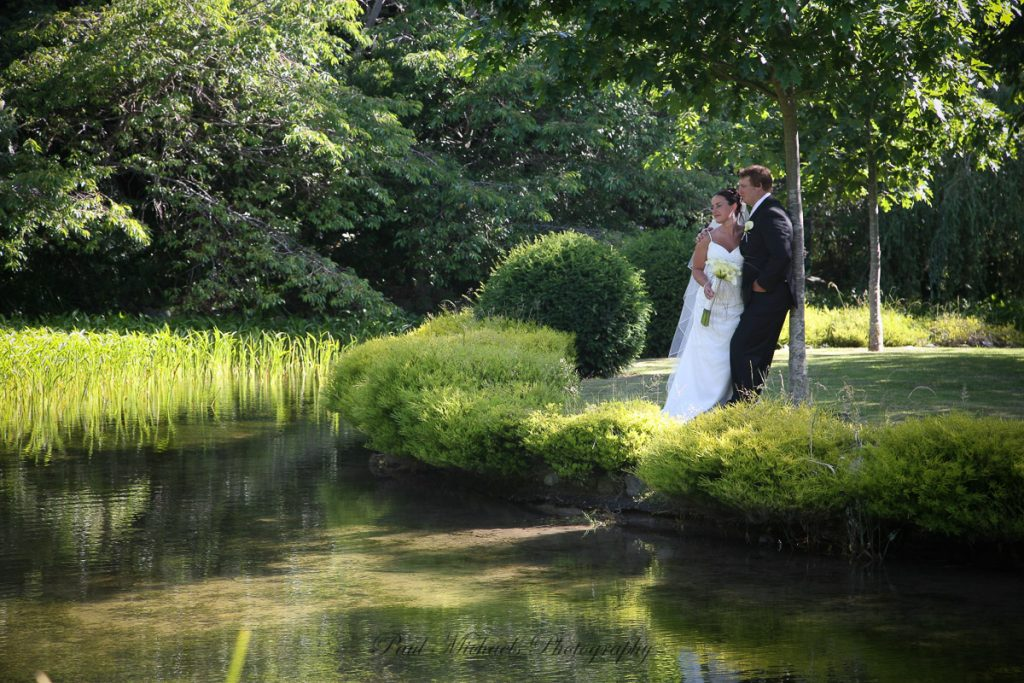 Bride and groom at Aston Norwood Pond