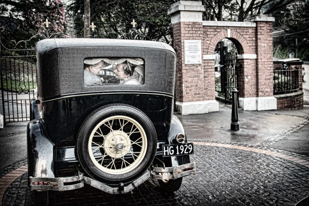 Old car arriving at the gardens