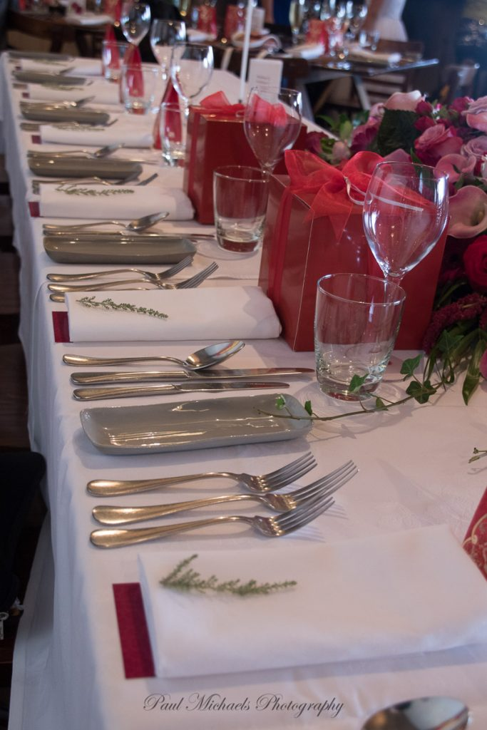 Place setting at reception