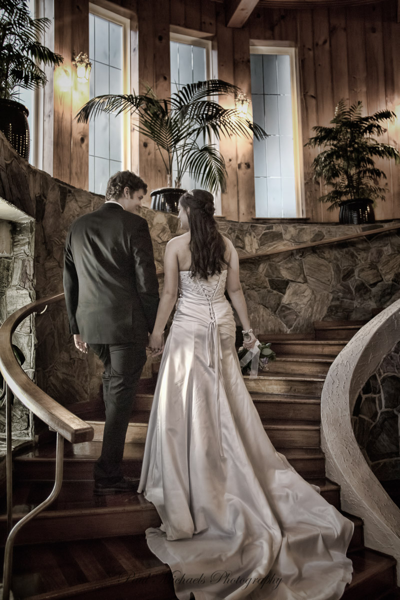 Up the stairs to the reception