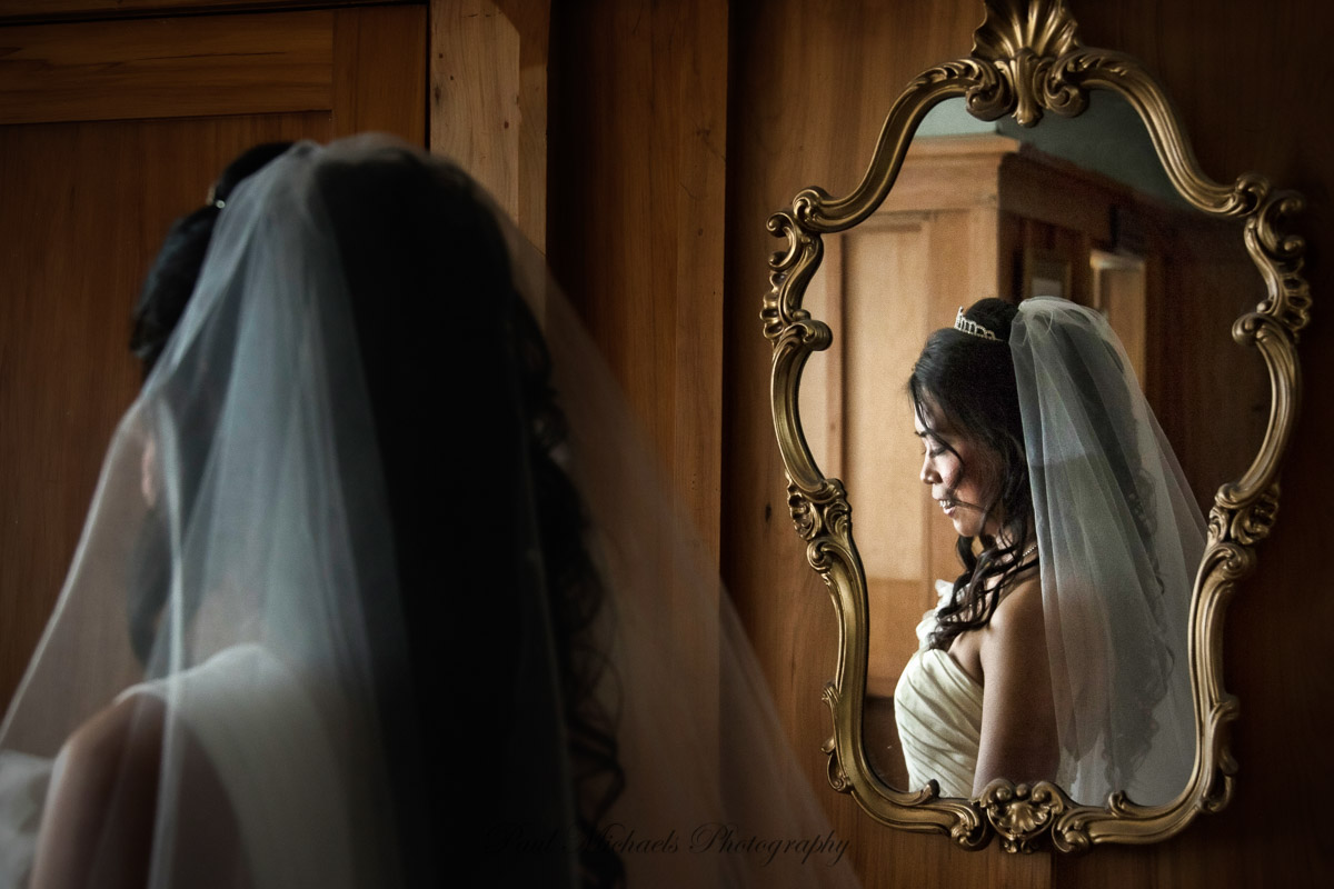 Bride in the mirror
