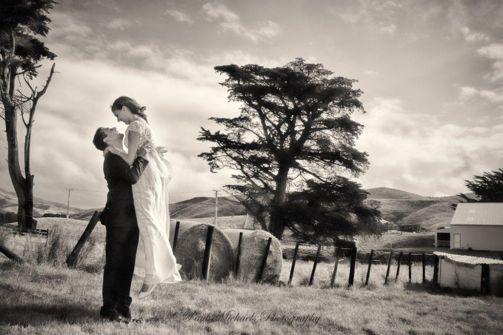 Happy couple on the farm