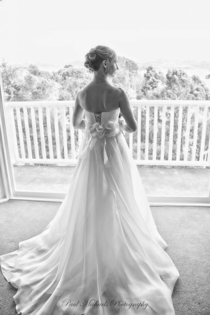 Bride looking out at Pauatahanui