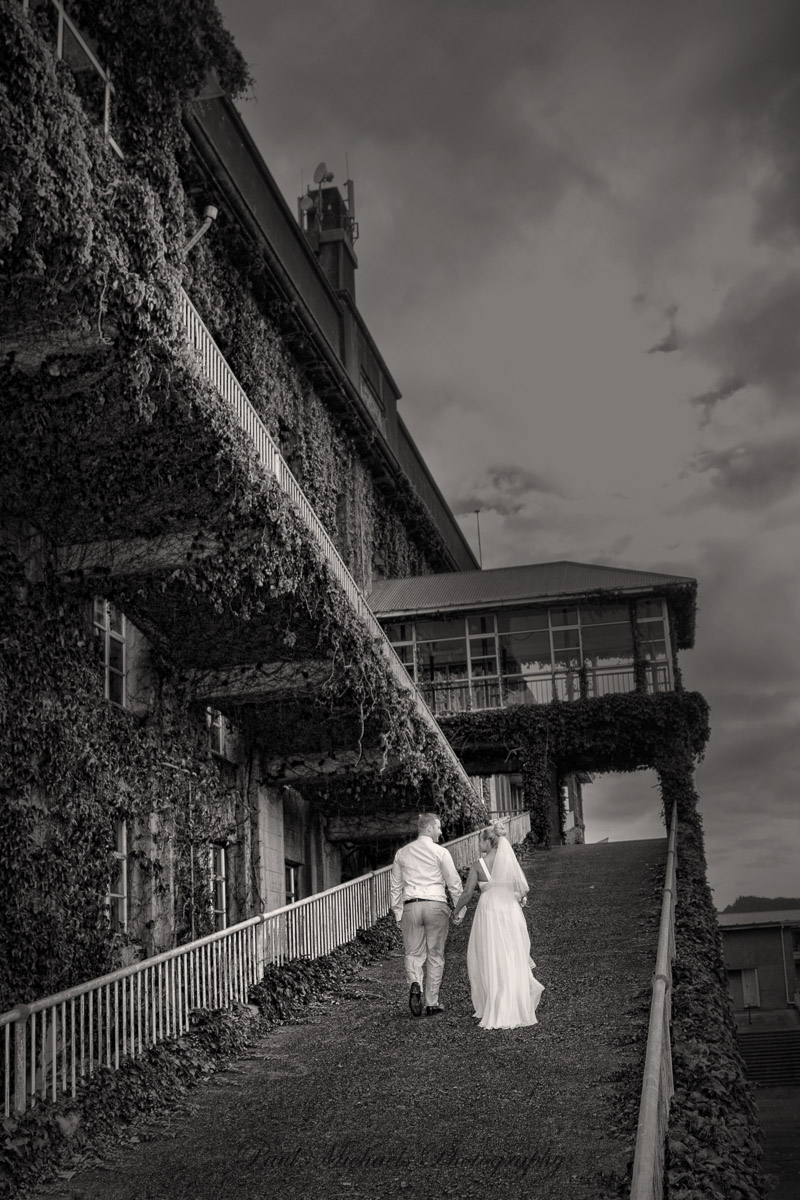Bride and groom at the racecourse