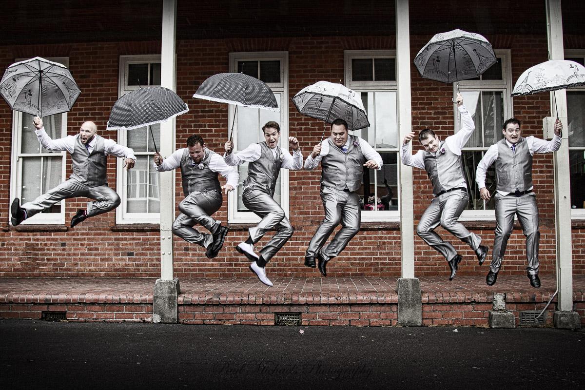 Fun Groomsmen jump.