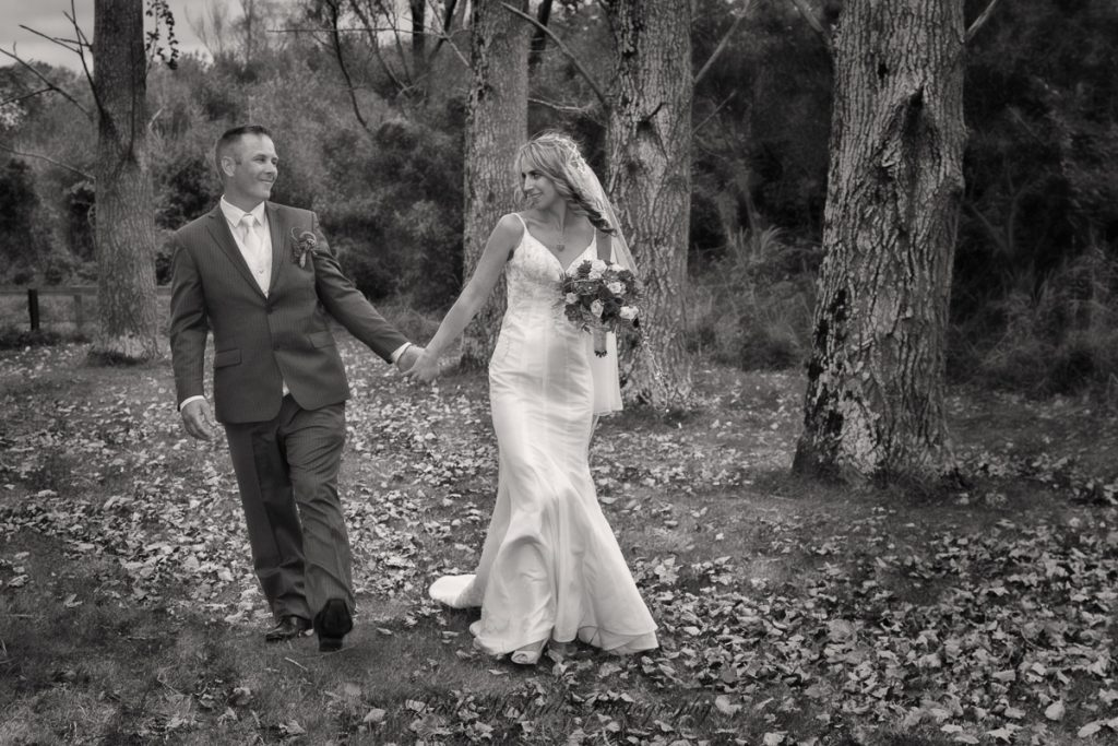 Bride and groom by the Hutt river