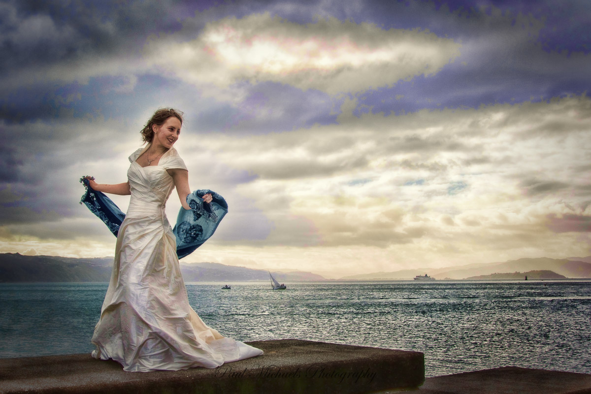 Bride on the Wellington waterfront