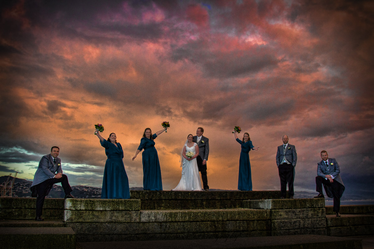 Bridal party with wellington sunset.