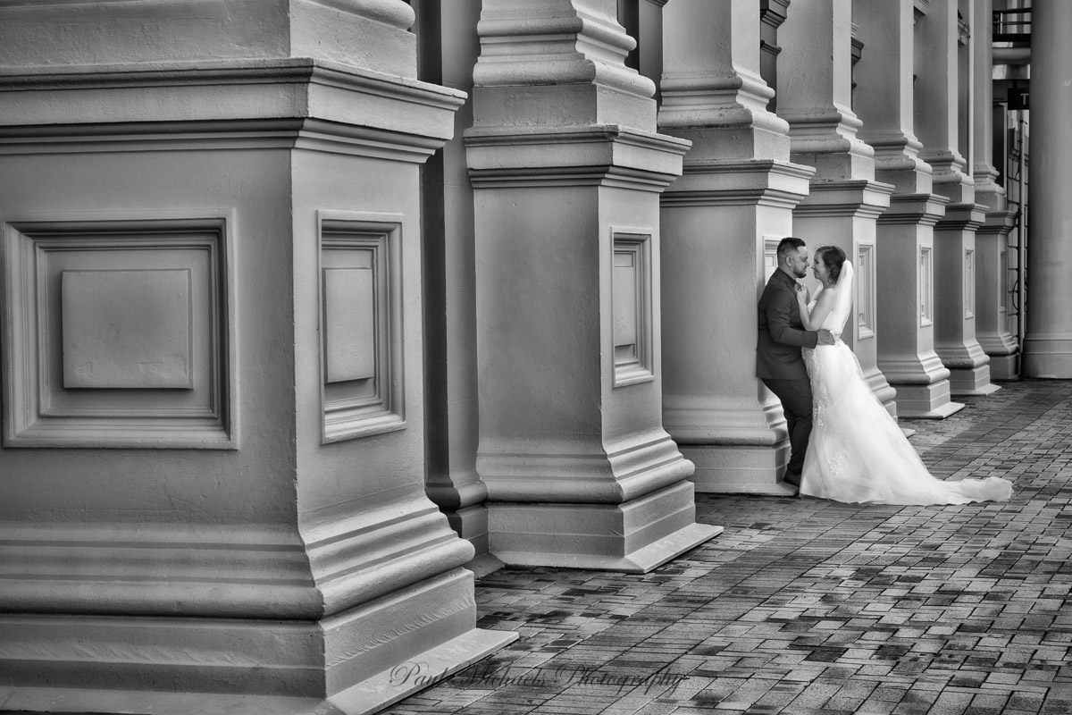 Bride and groom at civic square