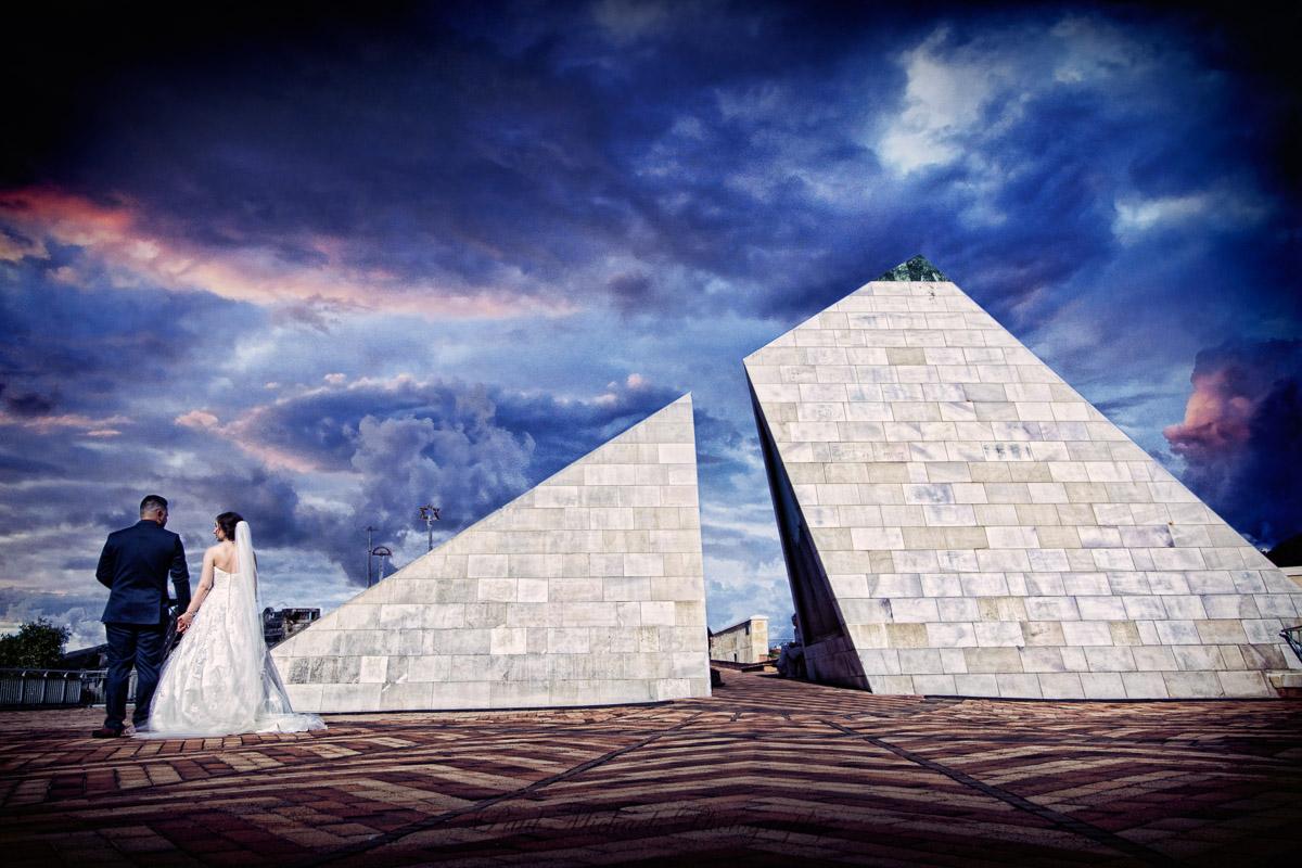 Bride and groom at civic square pyramid