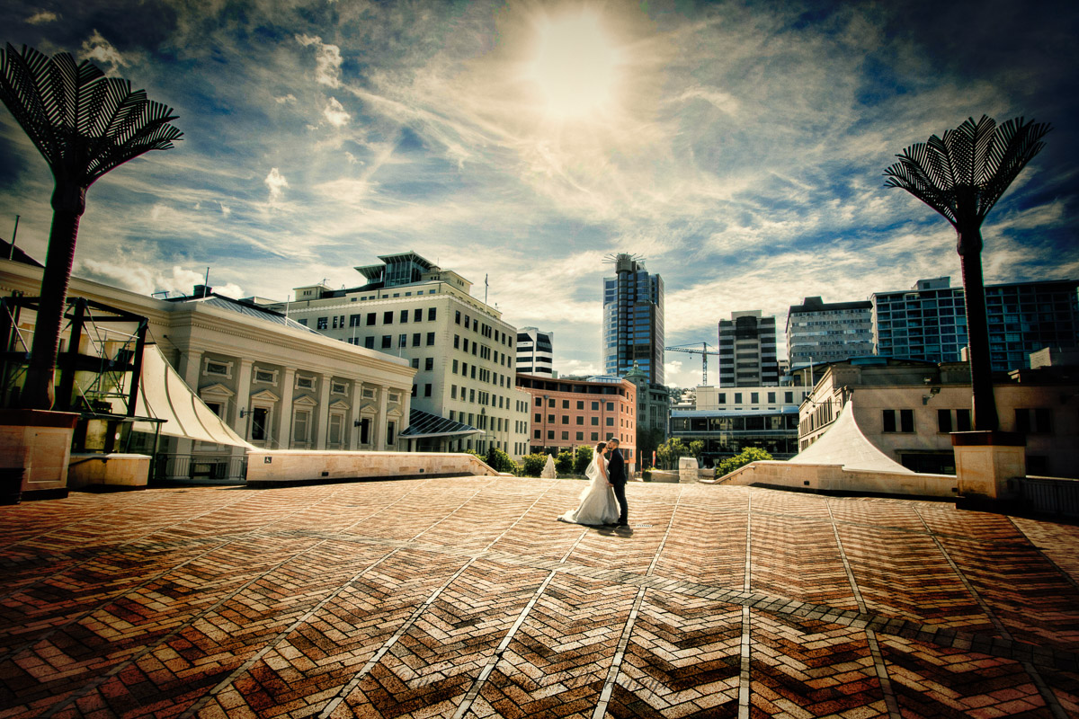 Wedding couple at civic square