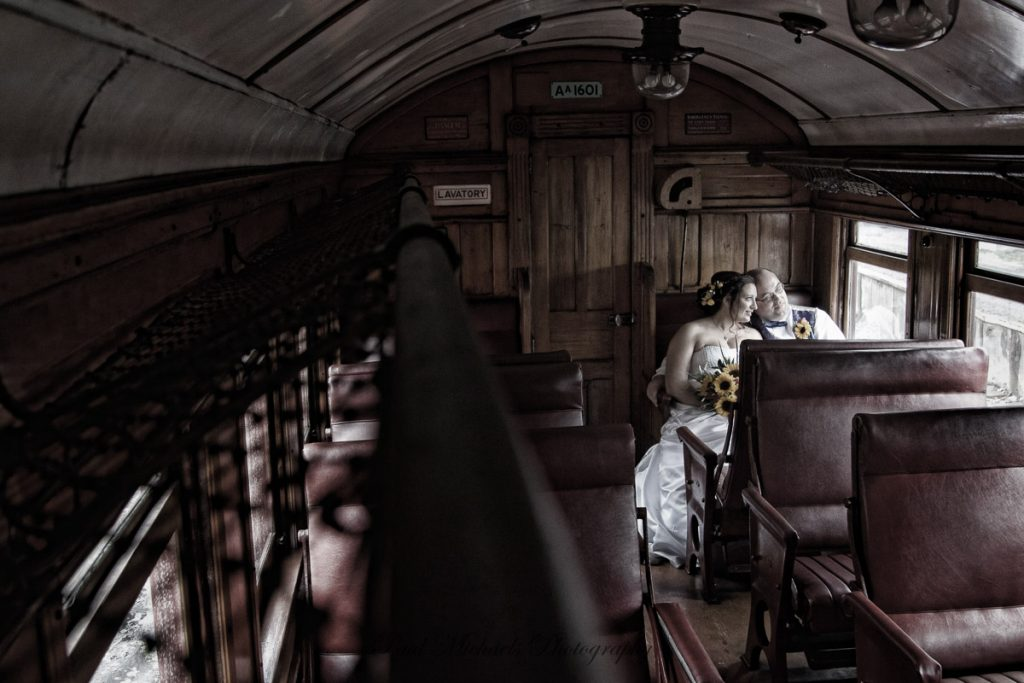 Bride and groom on the train