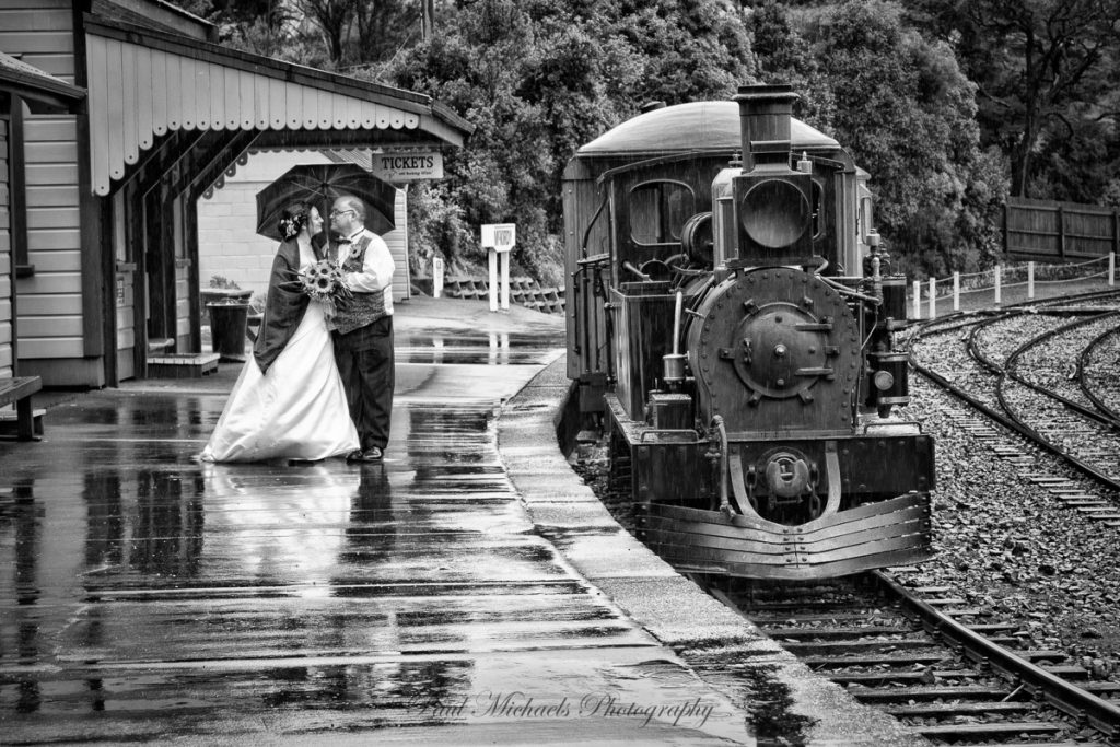 Bride and groom at Silverstream railway