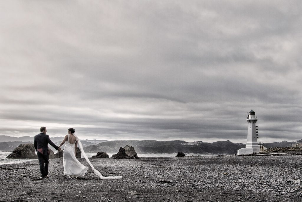 couple by the Pencarrow lighthouse