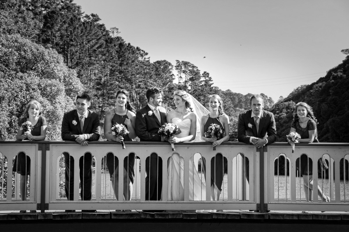 Bridal party on the bridge