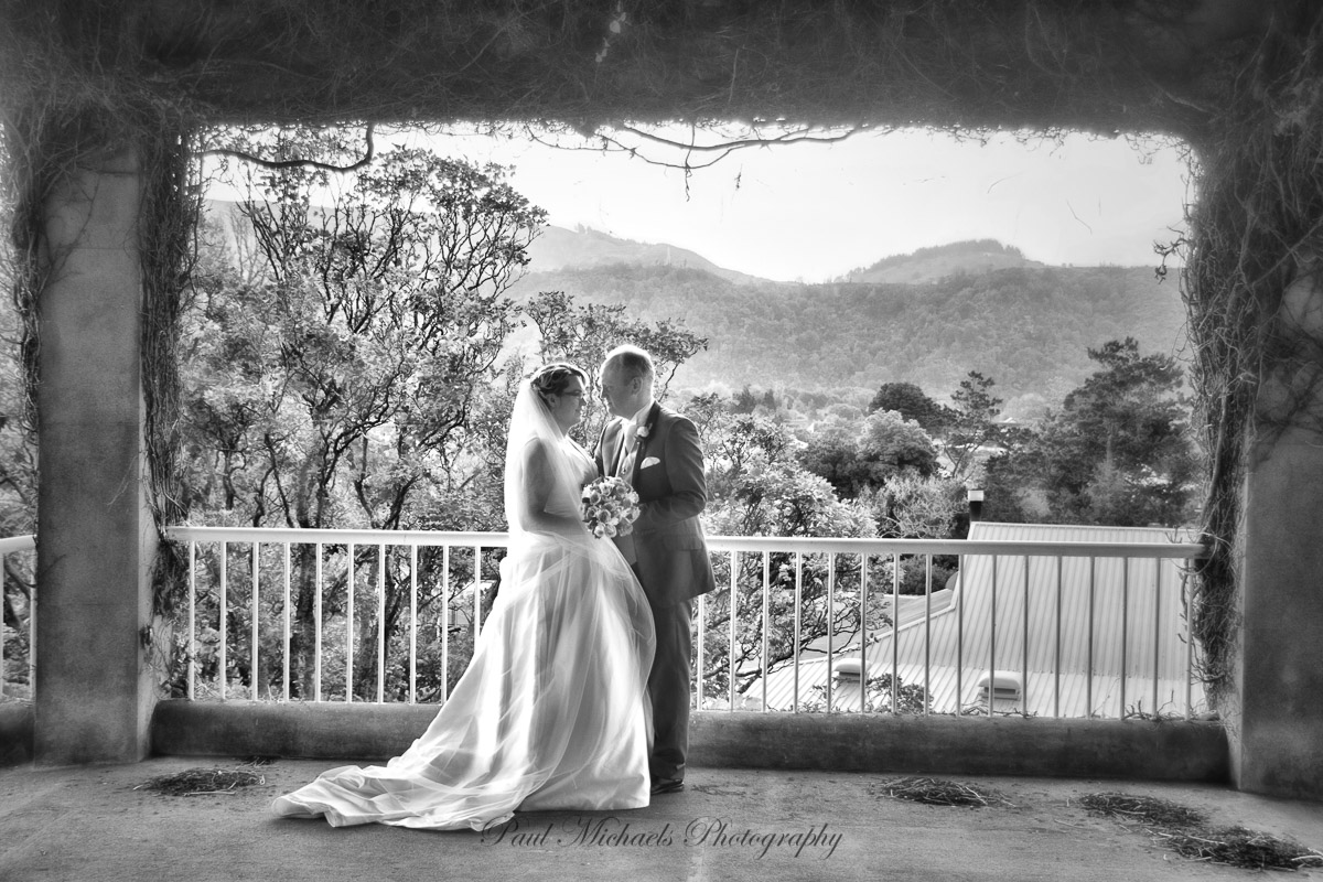 Bride and groom at Trentham race course