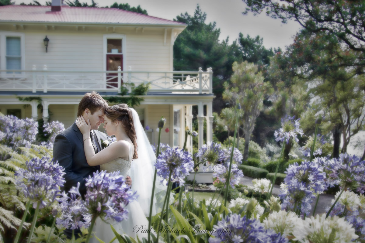 Couple in the flowers at Gear Homestead