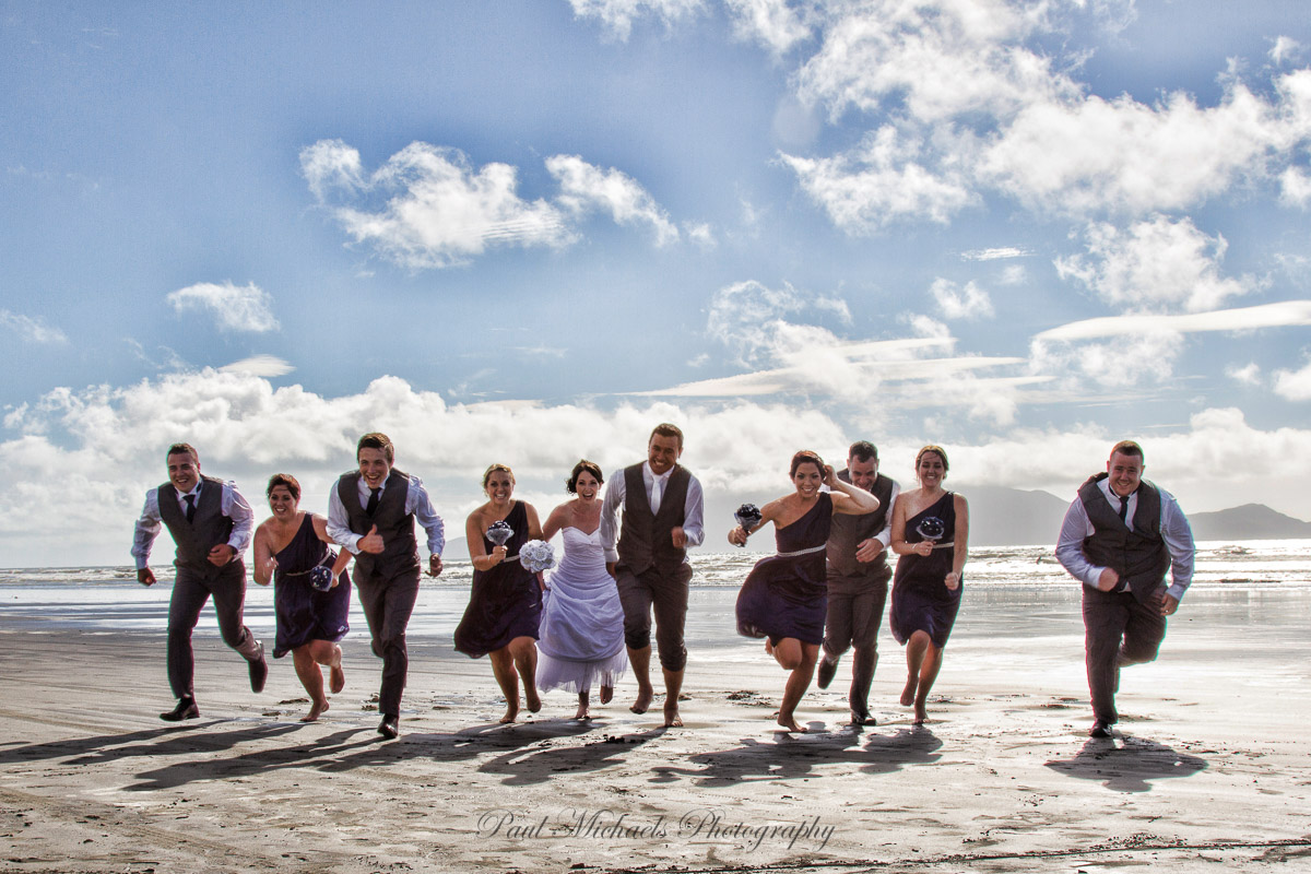 Bridal party at the beach